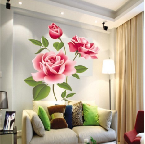 3d Pink Rose Wall Stickers Vinyl Removable Romantic Living