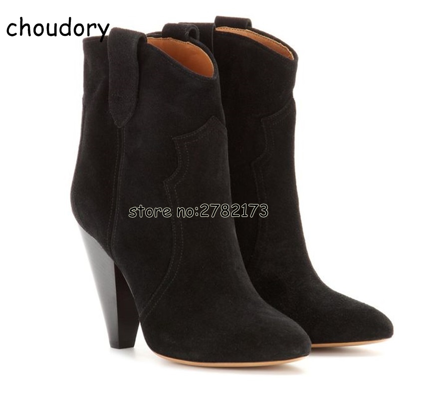 Gladiator Style Woman Chunky Heels Mid-calf Boots Suede Slip-on Fashion Motorcycle Boots Autumn Winter Woman Sexy Boots Shoes double buckle cross straps mid calf boots