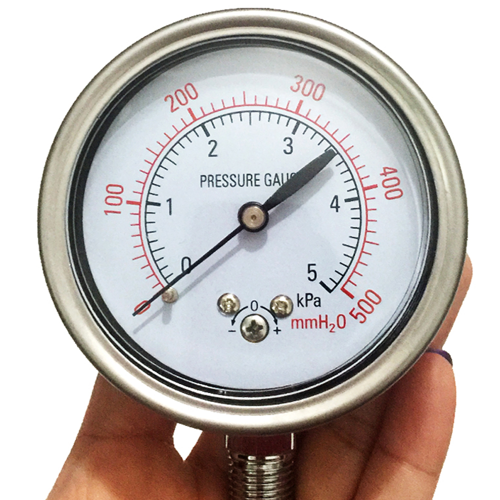 цена на Stainless steel shell YE-60 diaphragm pressure gauge water meter column surface micro pressure gauge 10KPA 20KPa 5KPA gas meter