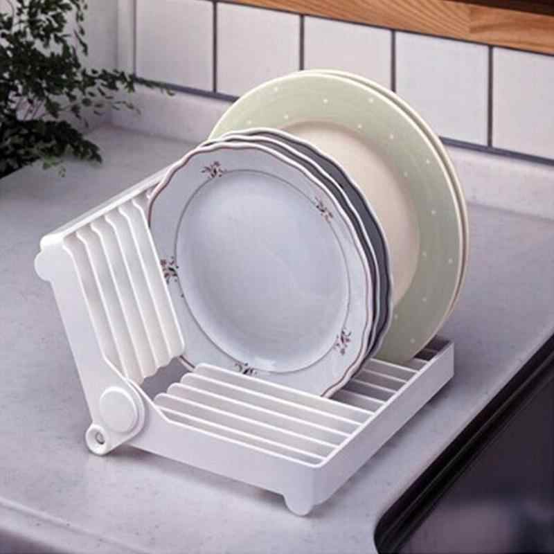 Kitchen Foldable Dish Plate Drying Rack Organizer Drainer Shelf Cooking Dish Rack Plastic Storage Holder Kitchen Accessories
