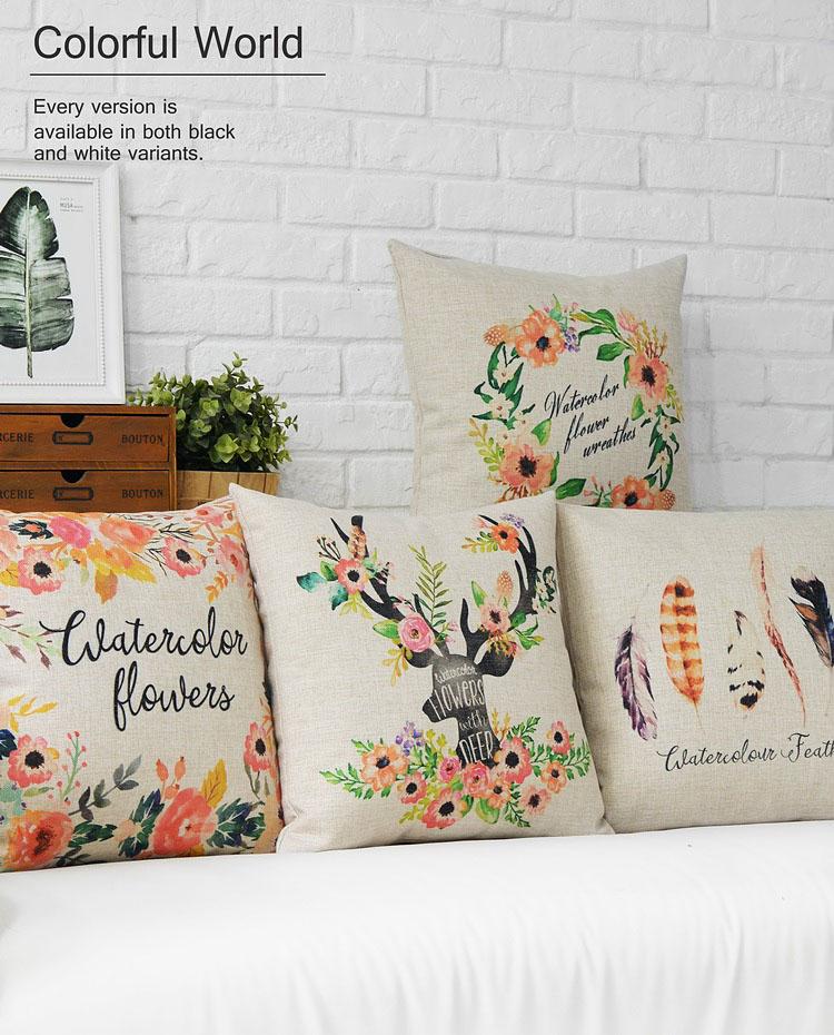 Free Shipping Linen Fabric Throw Pillow Hot Sale New Fashion Christmas Decor 45cm Boho Deer Flowers Sofa Cushion cover
