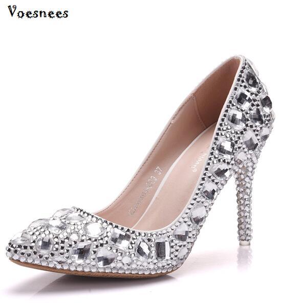 2019 nouveau cendrillon cristal chaussures femmes pompes soirée partie scintillante bout pointu bleu argent strass chaussures de mariage pompes