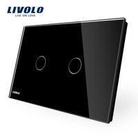 AU US Standard LIVOLO Wall Switch VL C902 12 Black Glass Panel AC 110 250V LED