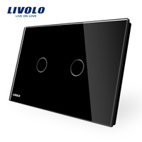 AU US Standard LIVOLO Wall Switch VL C902 12 Black Glass Panel AC 110 250V LED