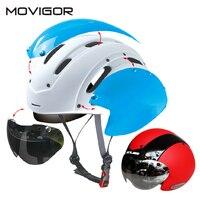 Movigor велосипедный шлем с объективом Сверхлегкий интегрального под давлением MTB велосипеда шлем очки дорожный велосипед шлем с магнитной УФ