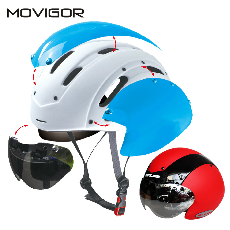 Movigor Cycling Helmet with Lens Ultralight Integrally-molded MTB bike Helmet goggles Road Bike helmet With Magnetic UV Visor