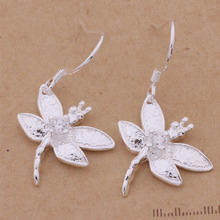 Silver plated noble luxury refined elegant dragonfly zircons Women earrings classic burst models jewelry free shipping AE154