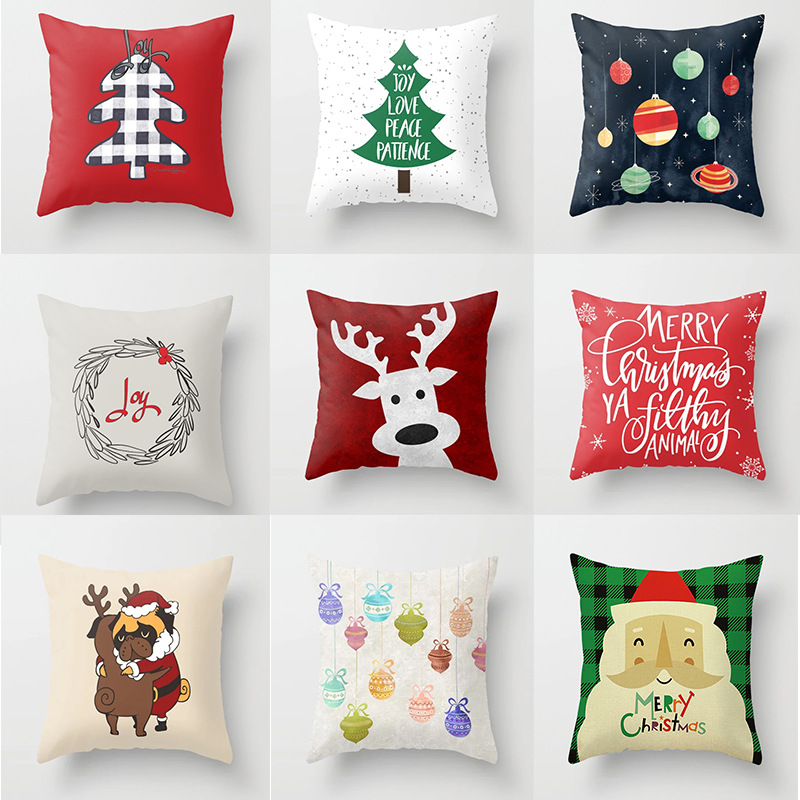 Christmas Tree Cushion Cover Santa Deer Merry Christmas Decorative Pillow Covers Soft For Sofa Seat Bed Living Room Decor 45x45