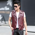 Fashion Men's vests leather coat outerwear 2016 autumn short slim male vest men coats black