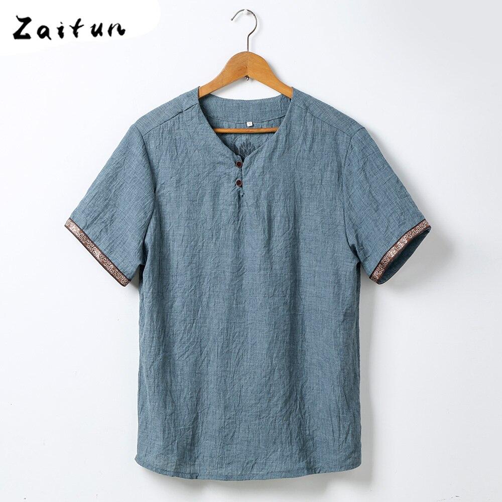 ZAITUN Short Sleeve Shirts Summer Casual Linen Shirt Men