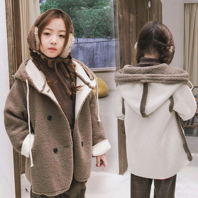 Kids Wool Coats 2018 New Winter Autumn Girls Blends Jackets Clothing Solid Color Formal Children Outerwear Clothes Faux Fur Coat