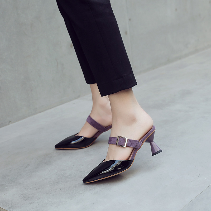 YMECHIC 2018 Summer Mules Women Shoes Strange High Heels Pointed Toe Patent Pu Mary Jane Buckle