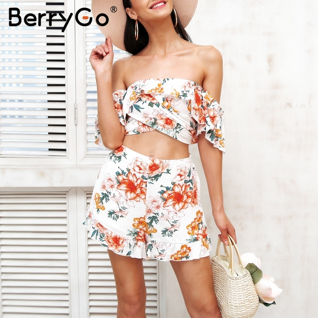 2b84facf90 BerryGo Off shoulder two piece sexy jumpsuit Women floral print ruffle  romper Summer 2018 short overalls backless playsuit