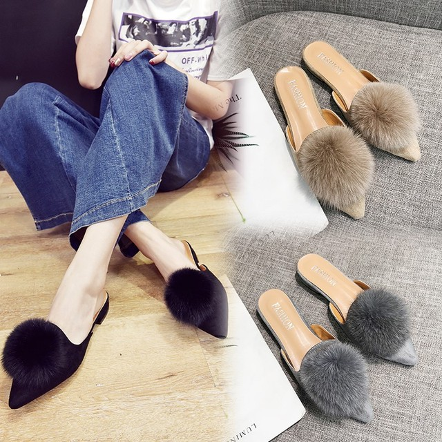 85c3850c3 closed pointed toe flat sandals furry ball slippers women famous designer  fur flip flops ladies mules shoes outdoor slides y699