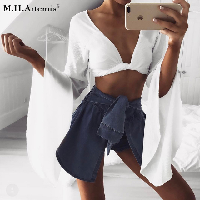 60610690aeb3b M.H.Artemis White blouse deep v-neck Bow tie tops Women long flare sleeve crop  tops Chic girls blouse Sexy fold short top tees