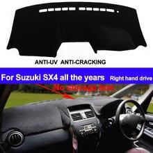 TAIJS RHD Bảng Điều Khiển Trên Ô Tô Bao Dash Cho Suzuki SX4 Tất Cả Các Năm Không Hộp Lưu Trữ Tự Động DashMat Thảm Không chống Trượt Chống Nắng Và Miếng Lót