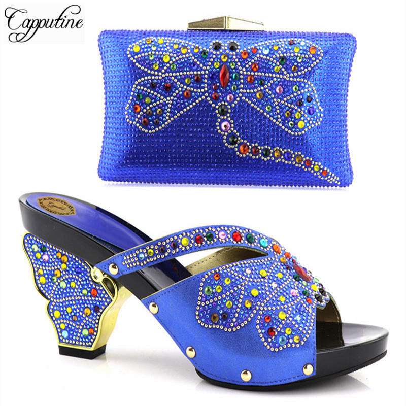 Capputine Blue Color African Party Shoes With Matching Bag Set For Women Italian Decorated With Rhinestone Shoe And Bag Set new fashion green color decorated with diamonds african shoes and bag set for party in women italian matching shoe and bag sets