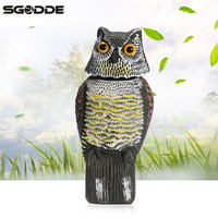 SGODDE Hunting Realistic Plastic Owl Decoys With Rotating Head Lifelike Tackle Accessories Scarecrow Garden Docoration Ornaments
