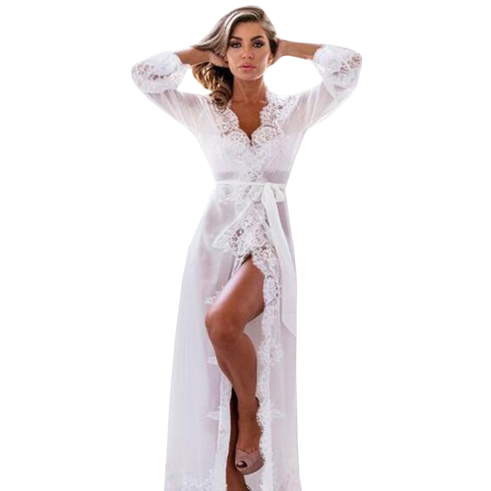 New Nightgowns Maxi Lace Robe Sexy Sleepwear Long Bathrobe Women Kimono Dressing Gown Nightgown
