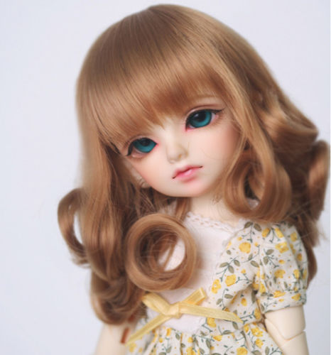 купить New BJD 1/4 7-8 17.5~18.5cm / 1/6 15.5~16.5cm SD DOC DOD LUT Pullip Dal MSD dollfie Doll Mix Brown Super Wavy Wig