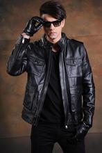 Rynek C & C. Darmowa wysyłka. EMS top markowy silnik prawdziwej skóry bydlęcej kurtki, męska klasyczna szczupła gruba, sales. biker.