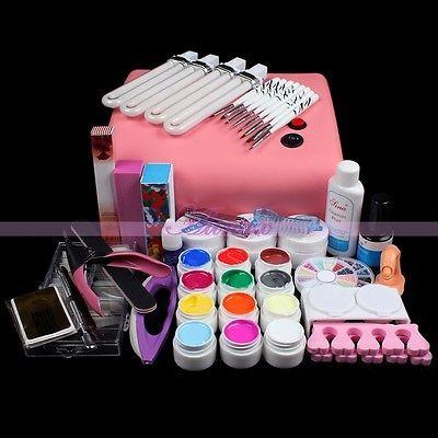 Hot sale 36W Pink 220V UV lamp Acrylic Nail Art Mold Display Tweezer Dish Tool Manicure Salon Decor Kits 3D 2015 New