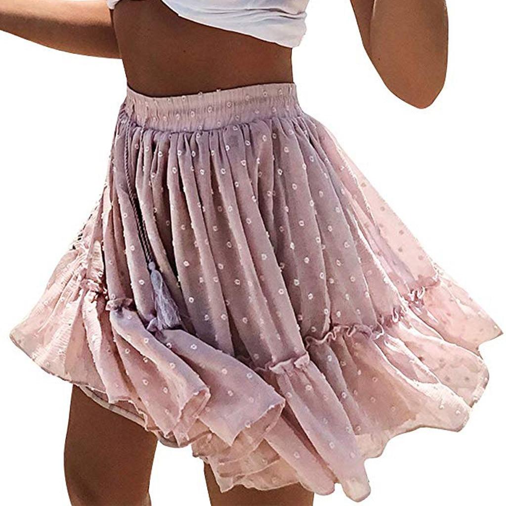 2019 Women's Pleated Ruffle Skirts Cute Dot Decor Beach Style Short Skirt Pink High Waist A Line Skirts Spodnica Damska #Y30