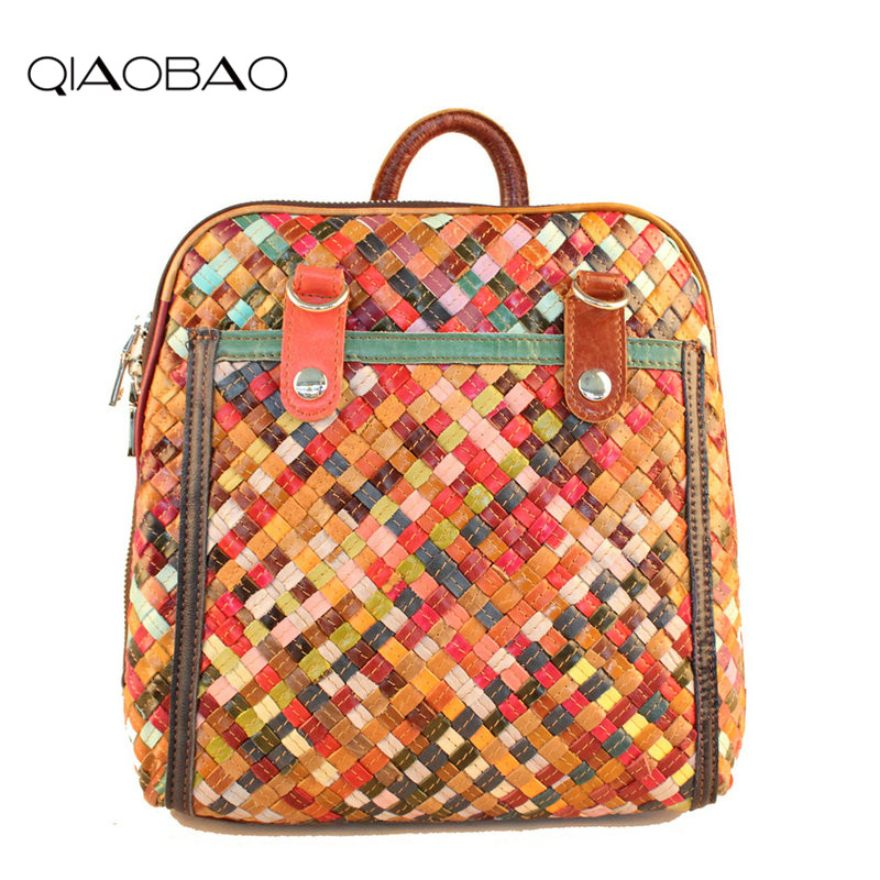 QIAOBAO New Fashion Knitting Bag Genuine Leather Backpack Women Bags Preppy Style Backpack Girls School Bags Flower Shoulder Bag qiaobao qiaobao japan and korean style genuine leather women backpack vintage school backpack for girls brand designer bags best