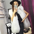 Autumn Winter Genuine Real Natural Fox Fur Vest Women's Full Pelt Long Waistcoat Warm Fashion Gilet Plus Size Pockets160622-1