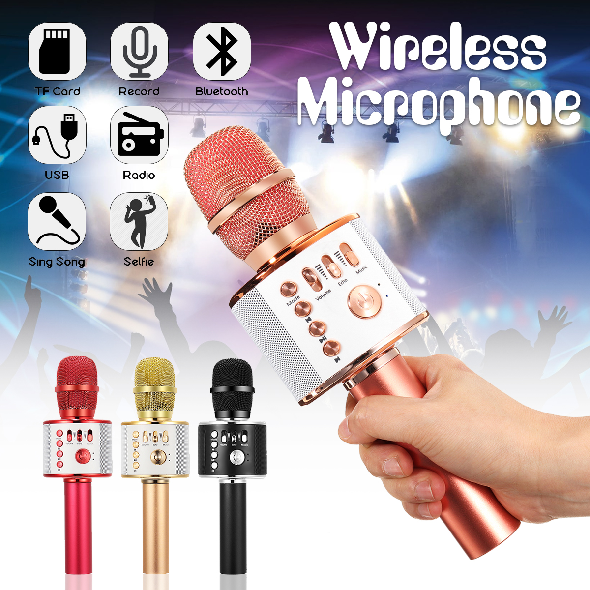 Wireless Karaoke Handheld Microphone USB KTV Player Bluetooth Mic Speaker qiateng bluetooth speaker v4 1 wireless karaoke player microphone with mic ktv singing record microphone for smartphone computer