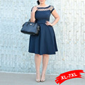Лареге Размер Sexy Кружева Выдалбливают Летнее Платье Плюс Размер Сплошной Цвет Женщины Платья l 2XL 3XL 4xl 5XL