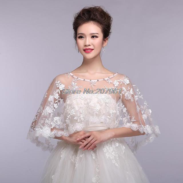 ca358d11bab Hot fashion style White  Ivory Lace bridal bridesmaid bolero Jacket Wrap Shawl  Cape for Wedding Dress JB-18