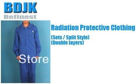 Излучения Защитная одежда Наборы для ухода за кожей с металлической фиброз проводящей Ткань 2 слоя защиты костюма и рабочей одежды