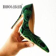 センチメートル/10 ブランドファッション女性靴緑のパテントレザーセクシーなハイヒールハイヒール センチメートル/8 12