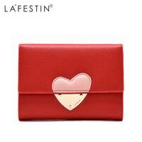 LAFESTIN Wallet Women Genuine Leather Heart Wallet Purse Short Style Coin Purse Lady Credit Card Holder Women's Wallet