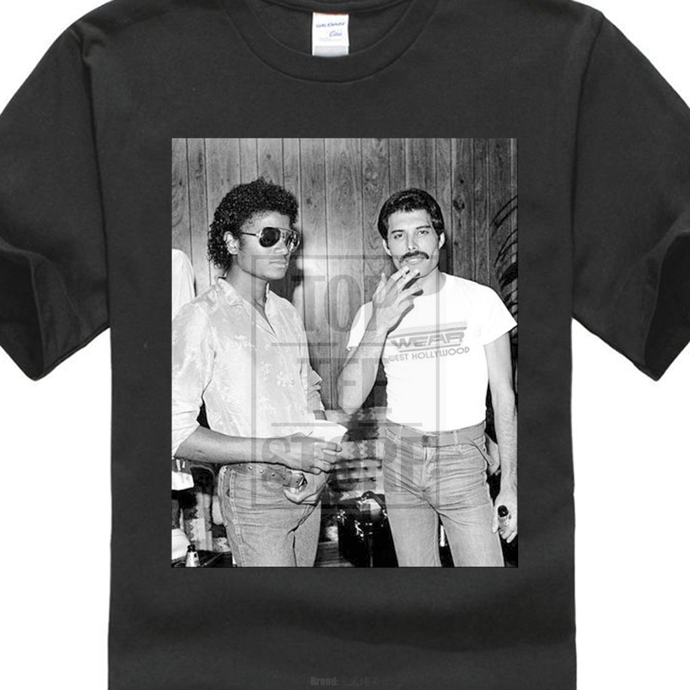 Michael Jackson & Freddie Mercury 142 Queen Pop Lgbt 2018 Hipster  Print Interesting Create Shirts Harajuku Tshirt