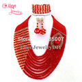 Fashion Red Nigerian Crystal Beads Necklace Bracelet Earrings Sets African Wedding Beads African Beads Jewelry Sets E1035