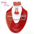Moda Red Nigerianos Contas de Cristal Colar Pulseira Brincos Conjuntos Contas De Casamento Africano Beads Africanos Jóias Define E1035