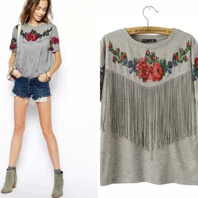 Aliexpress.com : Buy Women Flower printed tee tassels Ladies Short ...