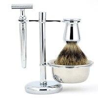 ZY Luxury Men Shaving Set Pure Badger Hair Brush Safety Razor Shaving Brush Stand Holder Soap