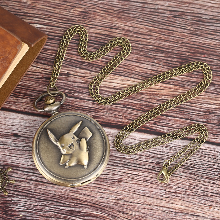 Popular Cartoon Pikachu Pendant Pocket Watch Full Hunter Pokemon Necklace Bronze Antique Men Women Boys Kids Chain Gifts Ulzzang 2017 (12)