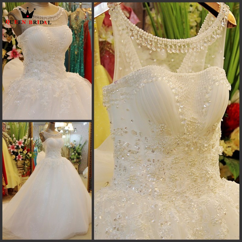 Custom Made Ball Gown Fluffy Tulle Lace Crystal Sequins Luxury Wedding Dress Real Photo Bridal Gown