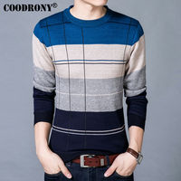 COODRONY Men Brand Clothing Knitted Cotton Sweater Men Casual Striped Mens Sweaters Wool Pullover Men Pull