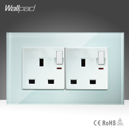 Double 13A UK Switched Socket Wallpad White Glass 146*86mm Push Button Switch and 13A UK Socket With LED Light Free Shipping 10a universal socket and 3 gang 1 way switch wallpad 146 86mm white crystal glass 3 push button switch and socket free shipping