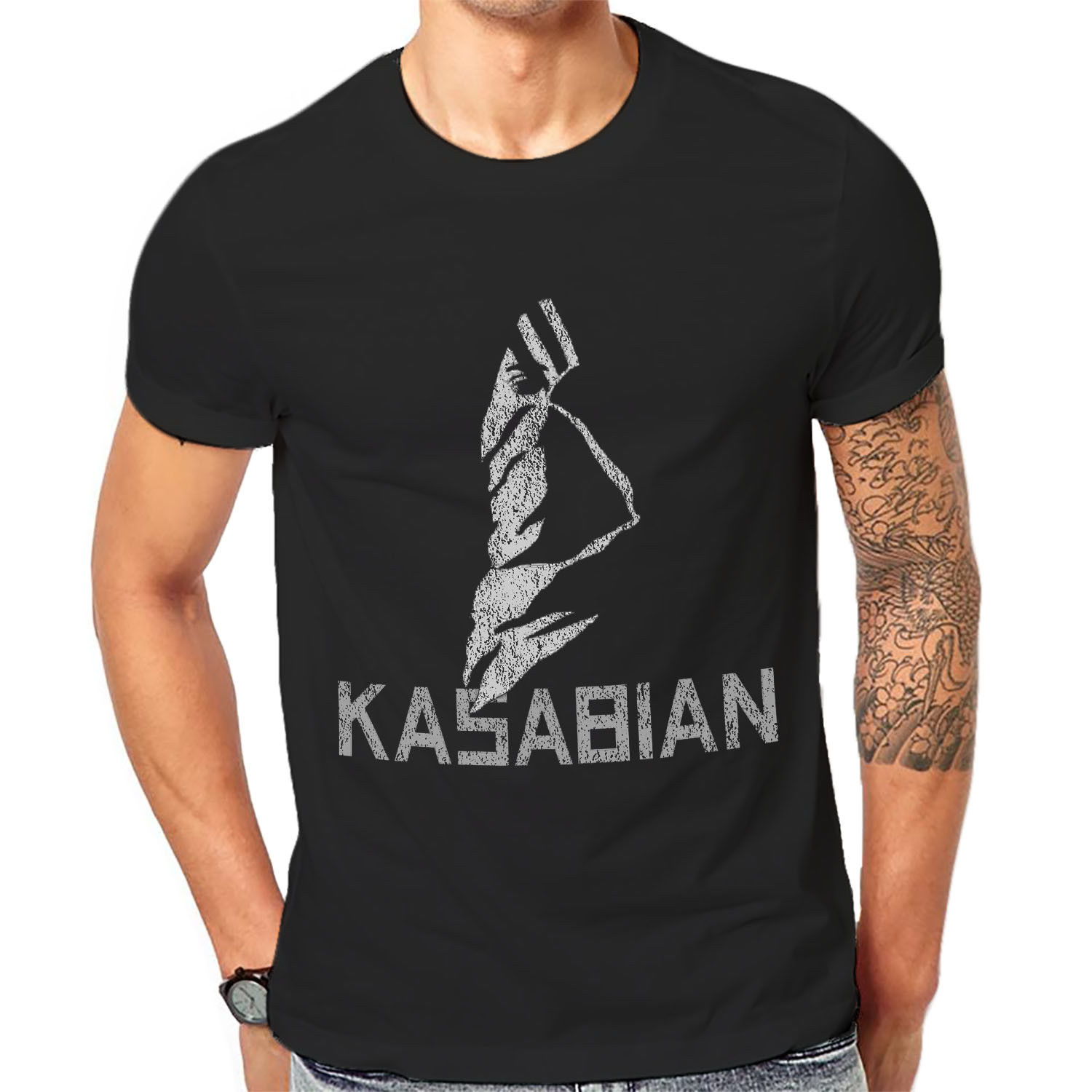 Kasabian Rock Band T Shirt New Cool Mens Graphic Print Unisex Tee 1