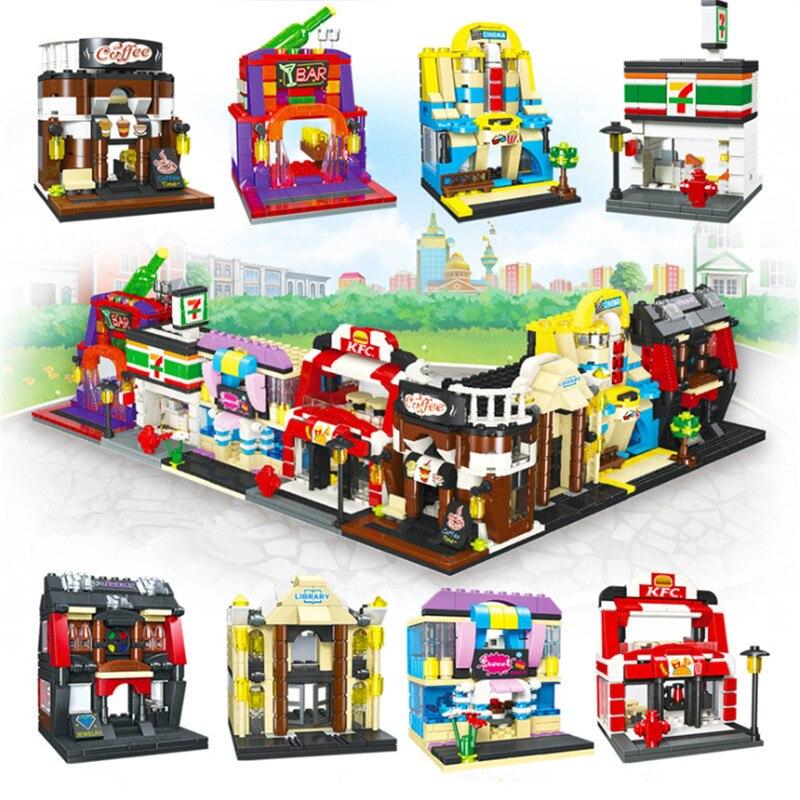 City Mini Street Set ver Bar temático restaurante cosméticos tienda pastel cafetería conjuntos de bloques de construcción juguetes para niños Bloques de construcción para niños pequeños brillantes 50 Uds. Bloques grandes para bebés juguetes educativos grandes para niños EVA juego de simulación juguetes de espuma