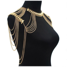 Hot Lady Tassels Link Harness Necklace Jewelry Body Shoulder Necklace