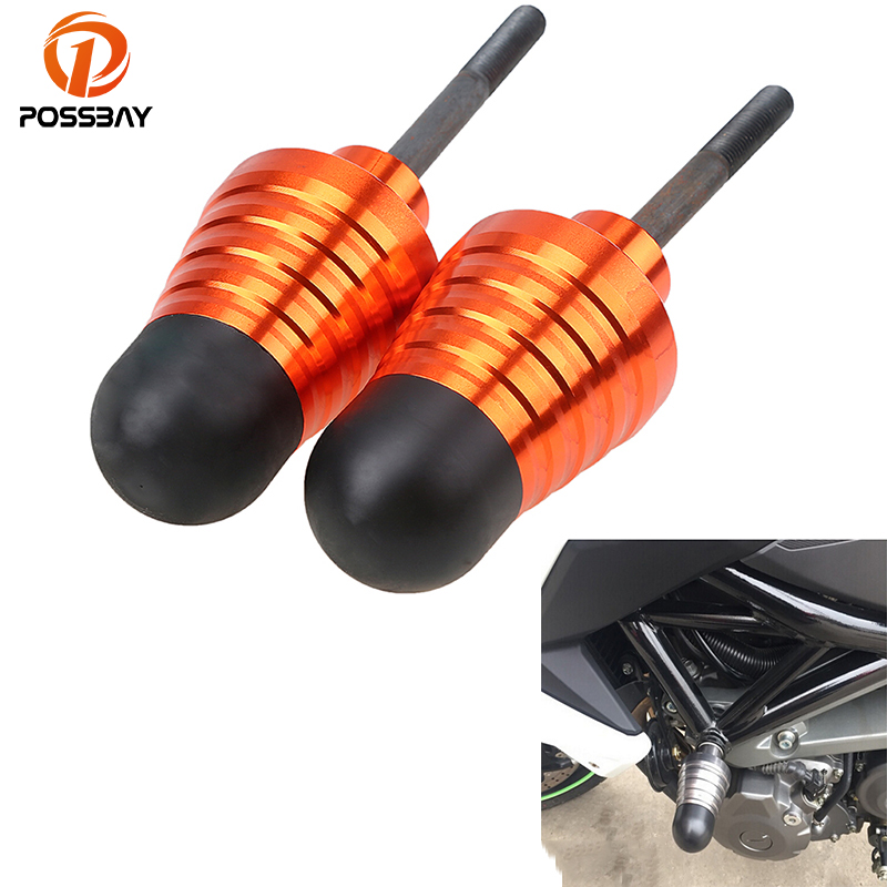 POSSBAY CNC Universal Motorcycle Frame Sliders Crash Pad Protector Exhaust Sliders Moto Cafe Racer For Yamaha DUKE 125 200 390