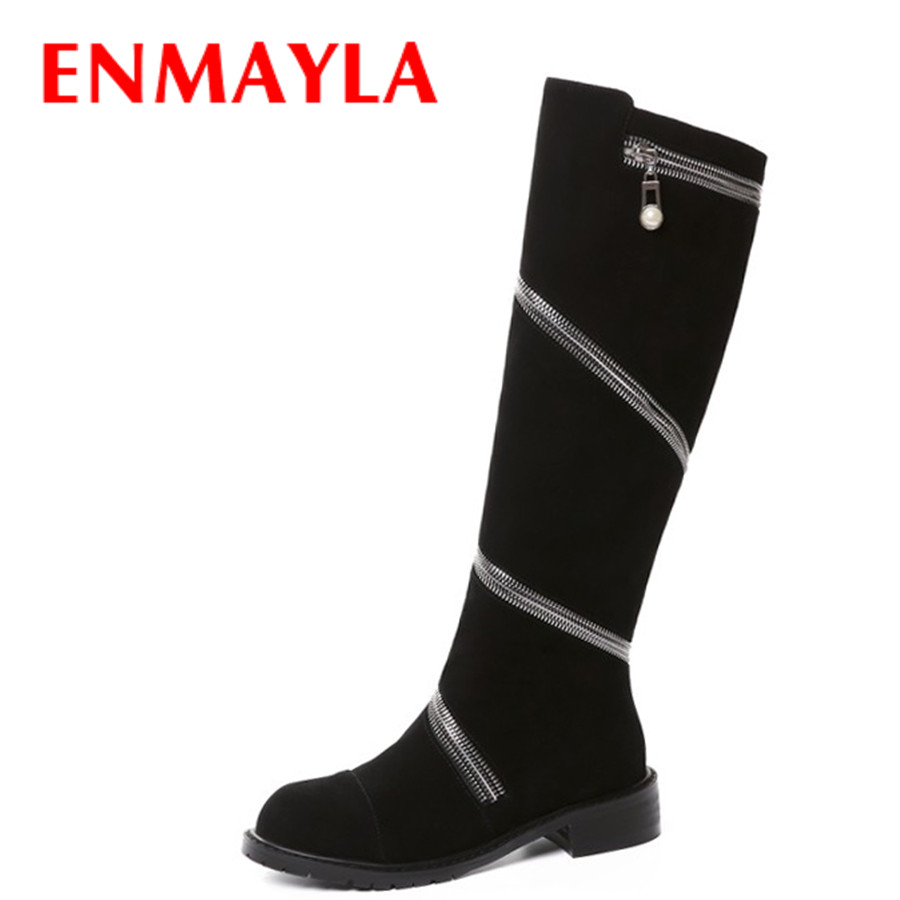 ENMAYLA Cool Zipper Knight Boots Women Punk Rock Shoes Woman Flats Knee High