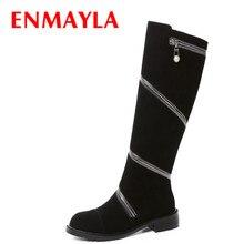 ENMAYLA Cool Zipper Knight Boots Women Punk Rock Shoes Woman Flats Knee High